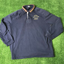 Vintage POLO RALPH LAUREN RLPC Long Sleeve Blue Rugby Shirt CROSSED MALLETS XL