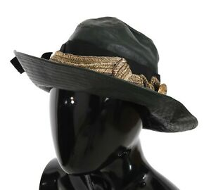 DOLCE & GABBANA Hat Green Leather Wide Brim Gold Crystal s. 56 / XS RRP $1900