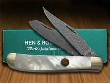 Hen & Rooster Damascus Genuine Mother Of Pearl Trapper 412DAM/MOP Knife