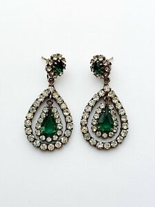 Quality Vintage Clear Green Paste Dangle Tear Drop Earrings