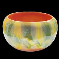 "Vintage USA G8 Art Pottery Bowl Arts & Crafts Yellow Green Glaze 8""W 4.75""H"