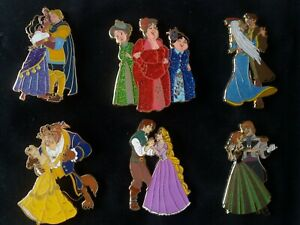 6 PINS DISNEY FANTASY ESMERALDA FAIRIES ATLANTIS BELLE RAPUNZEL DANCING SET