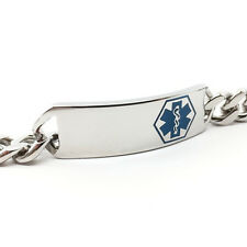 Surgical Stainless Steel Medical Alert ID Curb Chain Bracelet Silver & Blue Logo
