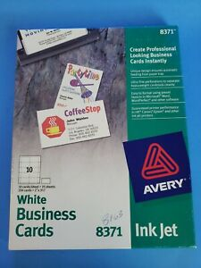 """Avery Business Cards Matte White Ink Jet 250 Cards 2"""" X 3 1/2"""" #8371"""