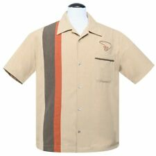 Steady Clothing Vintage Rockabilly Bowling Shirt Hemd - The Boomer Beige