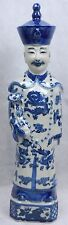 Blue and White Porcelain Qing Dynasty Emperor Yongzhen Statue Figurine (PSU-YZ)