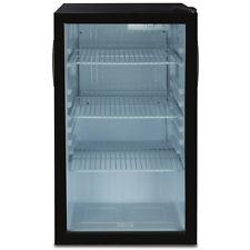 Compact Refrigerator Mini Fridge Glass Door Cooler w/ Led Interior Light, Black
