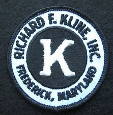 """RICHARD F KLINE EMBROIDERED SEW PATCH CONTRACTORS FREDERICK MARYLAND 2 1/2"""""""