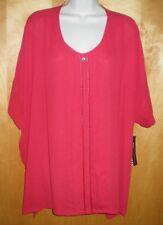 NWT NEW womens size XL XXL 1X  red DANA BUCHMAN s/s blouse shirt $48 retail