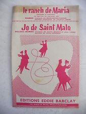 Partitura el Rancho de Maria San Remo 1957 Jo de Saint Malo Dauchy Lioret