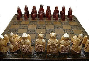 Isle of lewis chessmen - full size complete set of chess set game pieces vintage