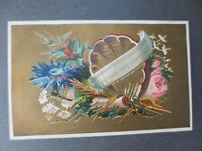 Antique CHRISTMAS Greetings Card B Sulman Shell & Flowers Victorian Chromo