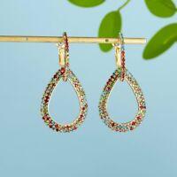 Women Geometric Crystal Rinestone Drop Dangle Earrings Jewelry Wedding Gift New