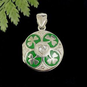 Irish Shamrock CZ Heart Sterling Silver 925  Photo Locket Pendant Ireland Love