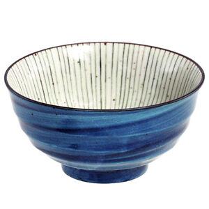 "2 Pcs Japanese 6.75""D Porcelain Ramen Noodle Soup Bowl Ao-Uchi-Tokusa/Made Japan"