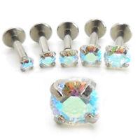 "16G 1/4"" Triple Helix Rainbow AB CZ Stone Stud Earring Cartilage 2-4mm Prong Set"