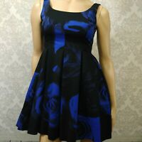 Gap Floral Fit Flare Dress Womens Petite Size 0 Sleeveless Black Blue Rose Print