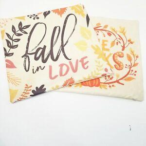 "Set of 2 Fall FarmHouse themed decor Throw Pillow Covers 18"" x 18"""