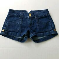Charlotte Russe Denim Booty Shorts Womens Size 4 Cuffed Blue Dark Wash Low Jean