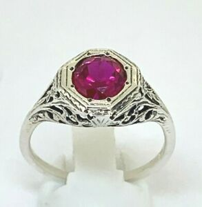 Ring Ruby Synth. 925er Silver Antique Style