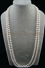 """Natural Japan Pearl 46"""" long Round 7-8mm White Freshwater Pearl Necklace"""