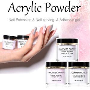 White Clear Pink 10 ml BORN PRETTY Acrylic Powder False Tip Nail Art Decorations