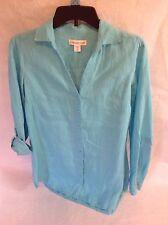 Coldwater Creek 100% Linen Button down long Tunic shirt turquoise blue XS 4-6