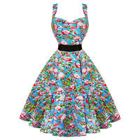 Hearts and Roses London Blue Pink Flamingo 1950s Retro Vintage Flared Sun Dress