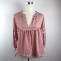 Lucky Brand Women's Embroidered Tassel Tie Sleeve V Neck Peasant Blouse Size S