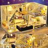 DIY LED Loft Apartments Dollhouse Miniature Wooden Furniture Kit Doll House USA