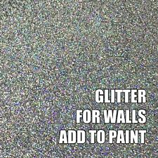 "100g FINE HOLOGRAPHIC SILVER GLITTER FOR WALLS ADD TO PAINT  ADDITIVE .008"" .2mm"
