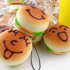 Jumbo Squishy Expression Hamburger Phone Straps Soft Face Bread Bun Charms LE