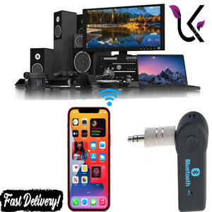 Wireless Car Bluetooth Receiver Adapter Audio Stereo Music 3.5MM AUX UK
