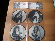 """bon jovi full set of four - 7"""" vinyl interview picture disc with hanging display"""