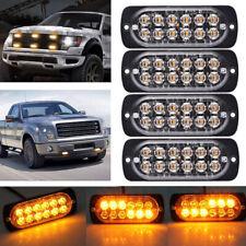 4PCS Amber 12 LED 36W Emergency Car Strobe Light Bar Hazard Beacon Flash Warning