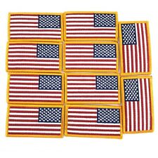 """3"""" x 2"""" Reverse American Flag Patch, Military USA Sew On Uniform Patches,10 Pack"""