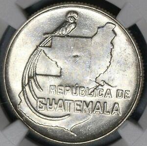 1943 NGC MS 63 Guatemala 25 Centavos Quetzal Bird Silver Map Coin (21042107D)