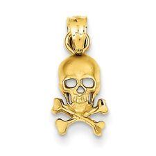14K Skull and Cross Bones 19x8mm Pendant / Charm