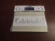 glittered celebrate invitation cards and envelopes  x6