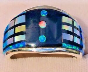 Engineering MIND Mens Retro Geographic Black Blue Fire Opal Ring Sterling  12 Y