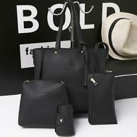 4pcs/set Litchi Leather Tassel Women Tote Shoulder Handbag Card Bags Black