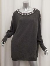 CHRISTIAN DIOR Womens Gray Cashmere Jewel Oversized Long-Sleeve Sweater S