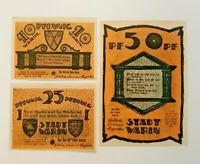 WARIN REUTERGELD NOTGELD 10, 25, 50 PFENNIG 1922 NOTGELDSCHEINE (12052)
