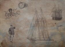 Rice Paper for Decoupage Scrapbook Craft Maps Mariner Sailboat 222