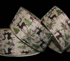 """5 Yards Christmas Reindeer Deer Pine Tree Rustic Brown Green Wired Ribbon 2 1/2"""""""