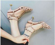 "Studded Strappy Rockstud D'orsay Heels 3"" Cut Out Slingbacks Rivets Women Shoes"