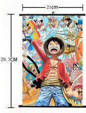 Hot Japan Anime One Piece Luffy Zoro Sanji Poster Wall Scroll Home Decor 21*30CM