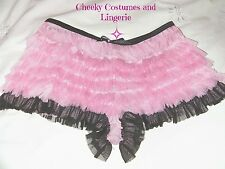 Knickers Pink & Black Ruffle Burlesque Fancy Dress Costume Accessory Size 8-10