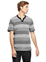 GUESS T-SHIRT Mens Black Grey Stripe Slit Neck Tee Top w- Pocket Size L NWT
