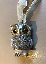 Enamel Glitter Owl Christmas Hanging Decoration Bauble